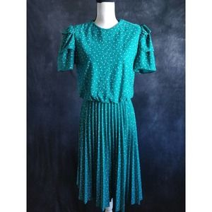 Vintage Green White Polka Dot Pleat Midi Dress 10